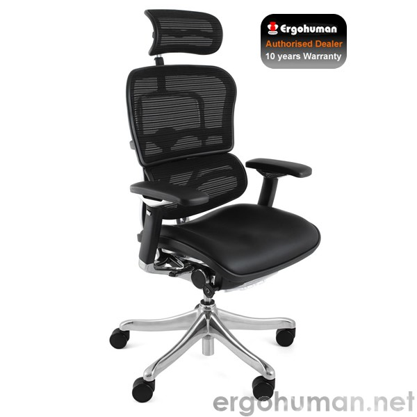 Ergohuman Plus Office Chair | Leather Seat and Mesh Back