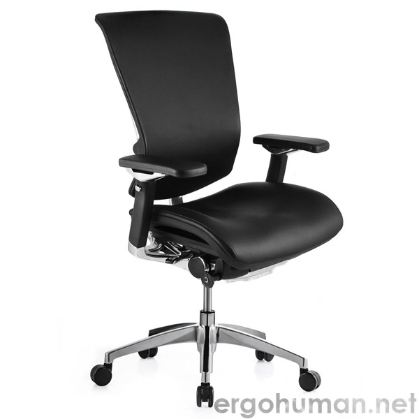 nefil leather office chair with polished frame no headrest