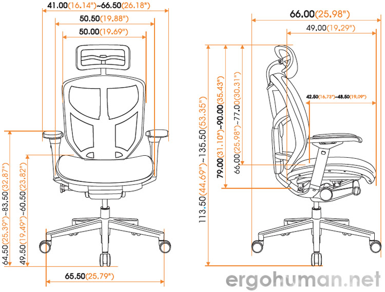 Enjoy Chair Measurements - Technical Drawing