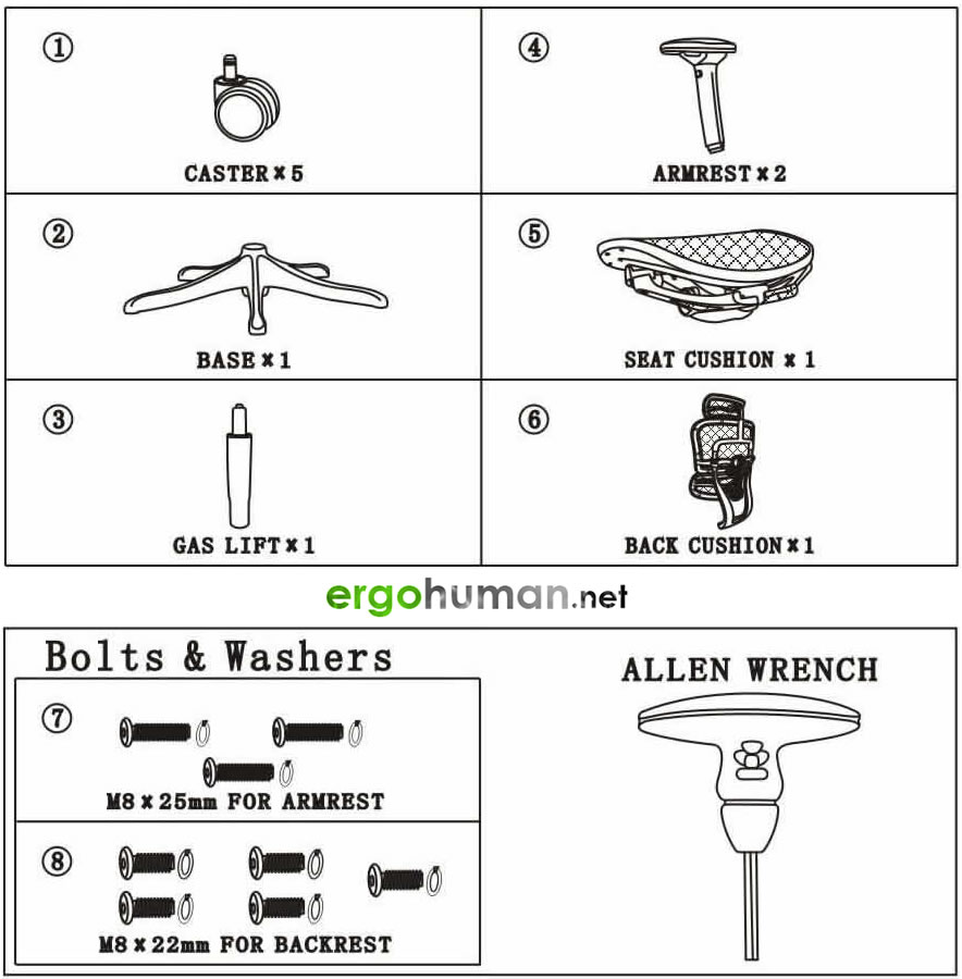 Ergohuman Assembly - Parts List