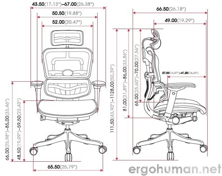 Ergohuman Plus Chair Measurements - Technical Drawing