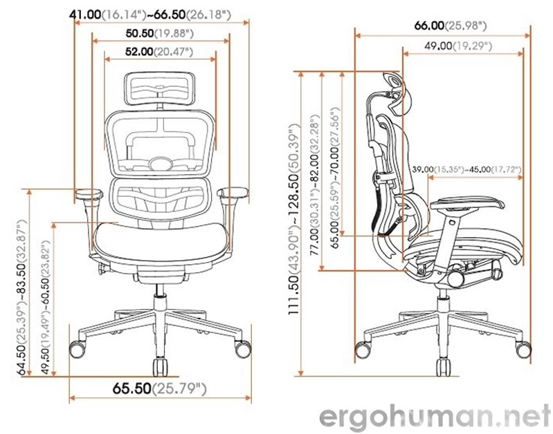 Ergohuman Chair Measurements - Technical Drawing