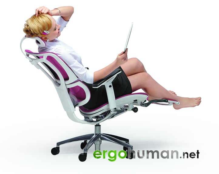 mirus office chair with pink mesh white frame and a leg rest