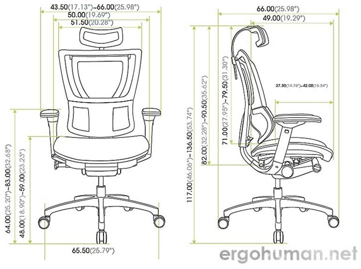Mirus Chair Measurements - Technical Drawing
