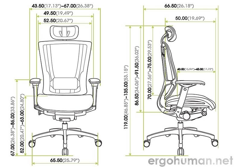 Nefil Chair Measurements - Technical Drawing