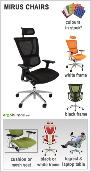 ergonomic office chairs - Mirus Office Chairs - mesh or fabric foam cushion