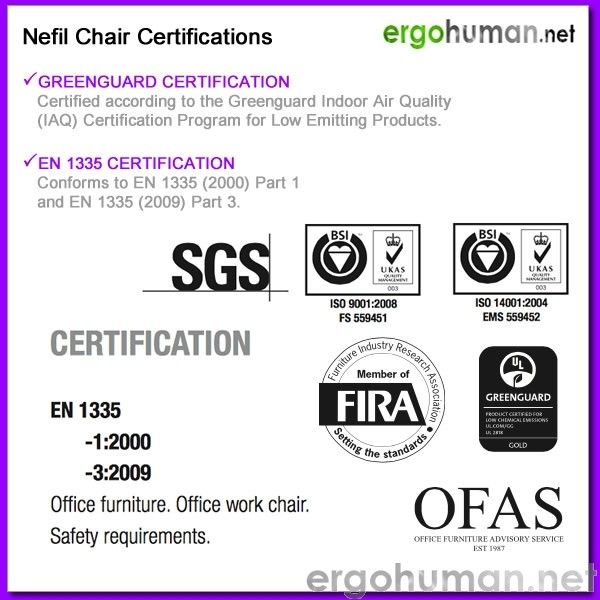 Nefil Chair Certifications