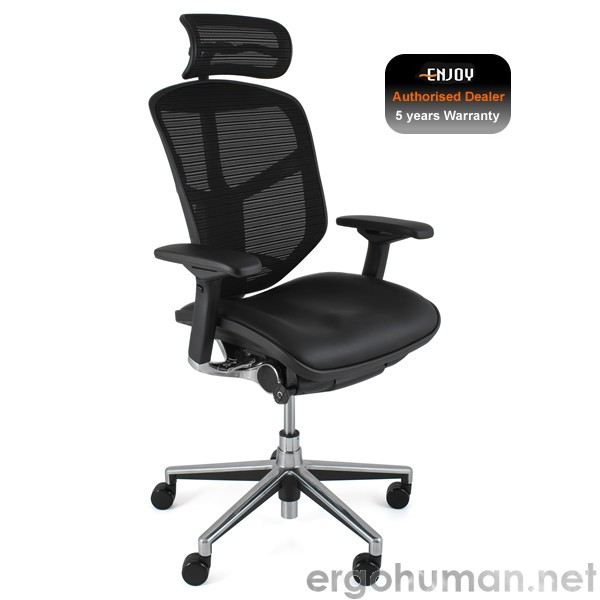 Enjoy Chair Leather Seat Mesh Back