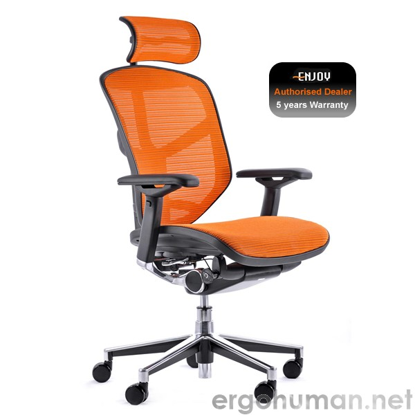 Enjoy Mesh Office Chair with Headrest - Orange Mesh