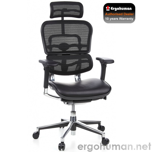 ergohuman ergohuman leather and mesh office chair with head rest. Black Bedroom Furniture Sets. Home Design Ideas