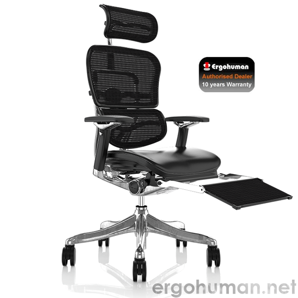 Ergohuman Plus Leather Seat Mesh Back with Leg Rest