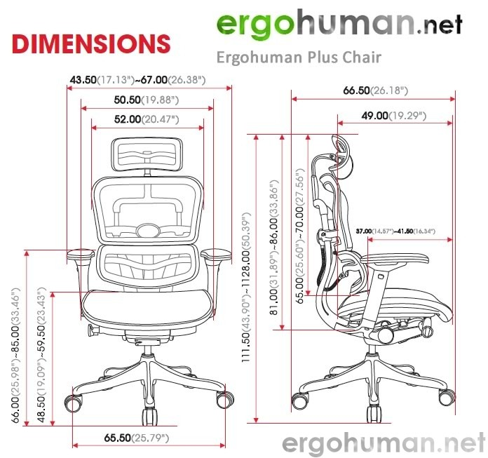 office chair drawing. Simple Chair Ergohuman Plus Technical Drawing  Chair Size And Adjustments In Office