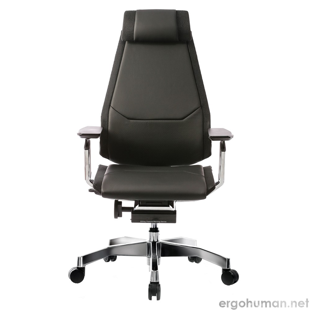 Genidia Leather Office Chair with Headrest and Standard Polished Base