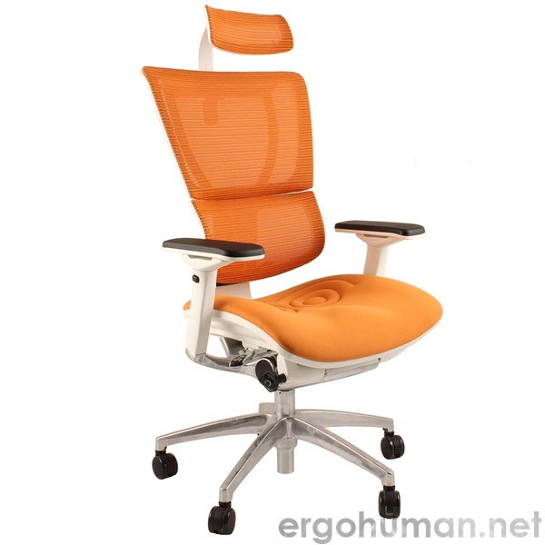 Mirus Mesh Office Chair With Headrest And White Frame