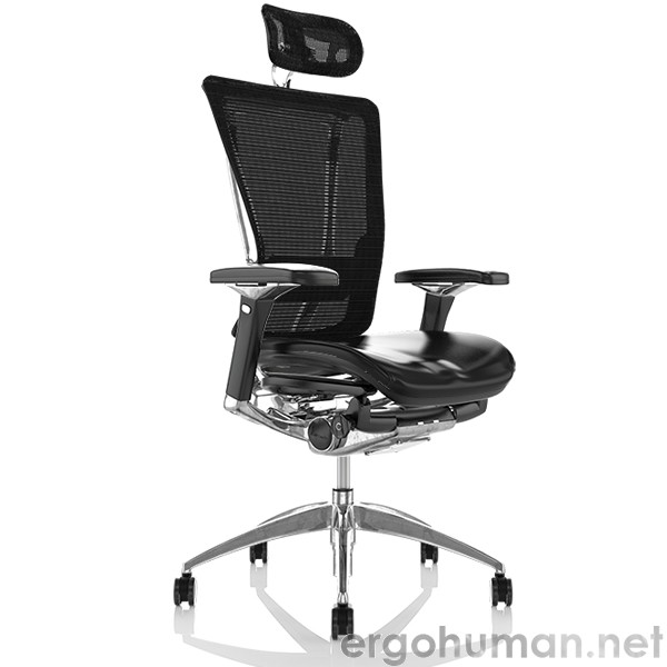 Nefil Office Chair Leather Seat Mesh Back with Head Rest