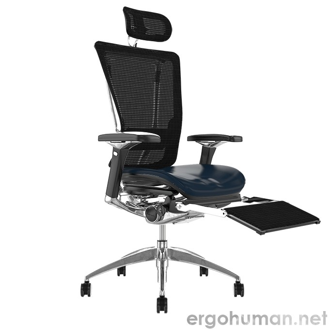 Nefil Office Chair Leather Seat Mesh Back with Head Rest and Leg Rest