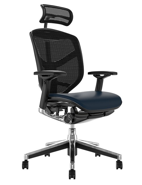 Enjoy Elite Chair, Leather Seat Mesh Back with Head Rest
