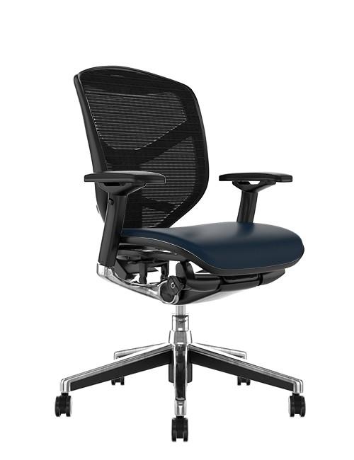 Enjoy Elite Chair Leather Seat Mesh Back no Head Rest