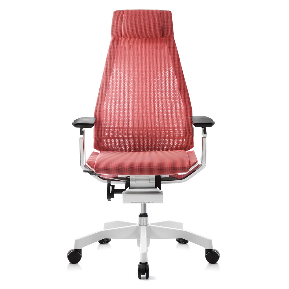 Genidia Chair with Head Rest,  White Frame and White Base