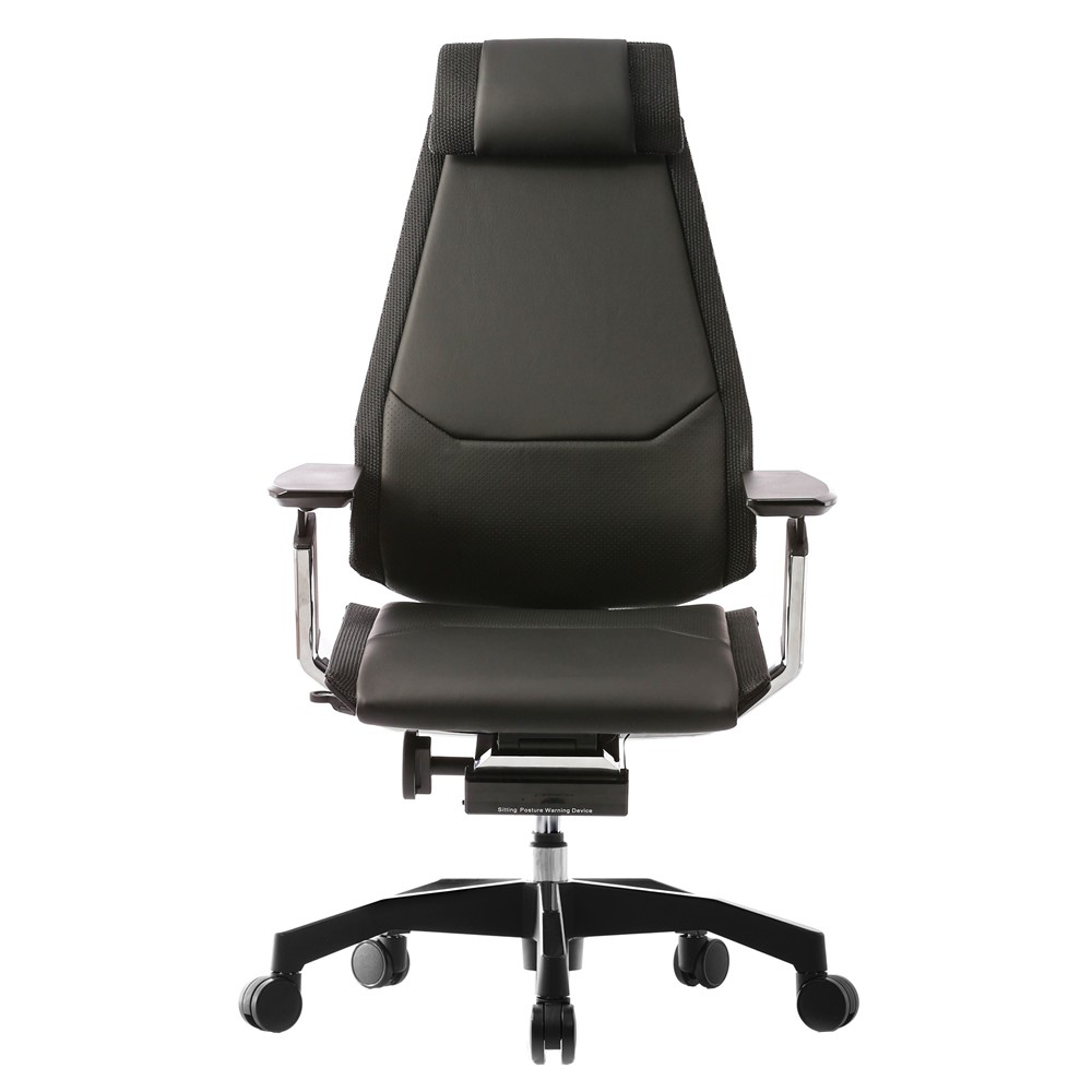 Genidia Leather Office Chair with Head Rest and Black Base
