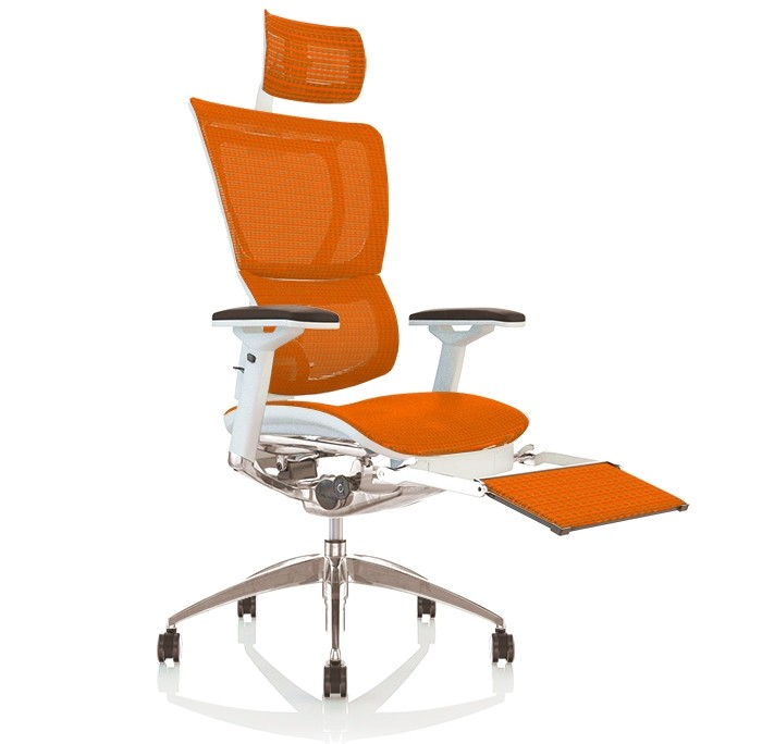 Mirus Mesh Office Chair White Frame With Headrest and Leg Rest