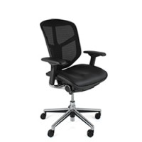 Enjoy Chair Leather Seat  Mesh Back no Head Rest