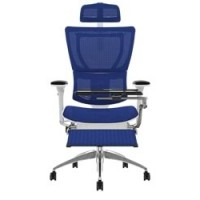 Mirus Mesh Office Chair White Frame With Headrest, Leg Rest and Notebook Arm