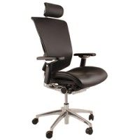 Nefil Leather Office Chair With Polished Frame
