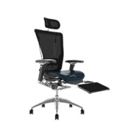 Nefil Leather Seat, Mesh Back Office Chair With Leg Rest and Headrest