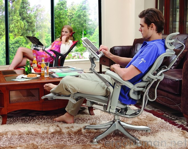 Office Chair with Leg Support and Ipad or Tablet Support Table - Ergohuman Plus Chair