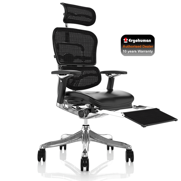 Ergohuman Plus Leather Seat and Mesh backrest with Leg Rest