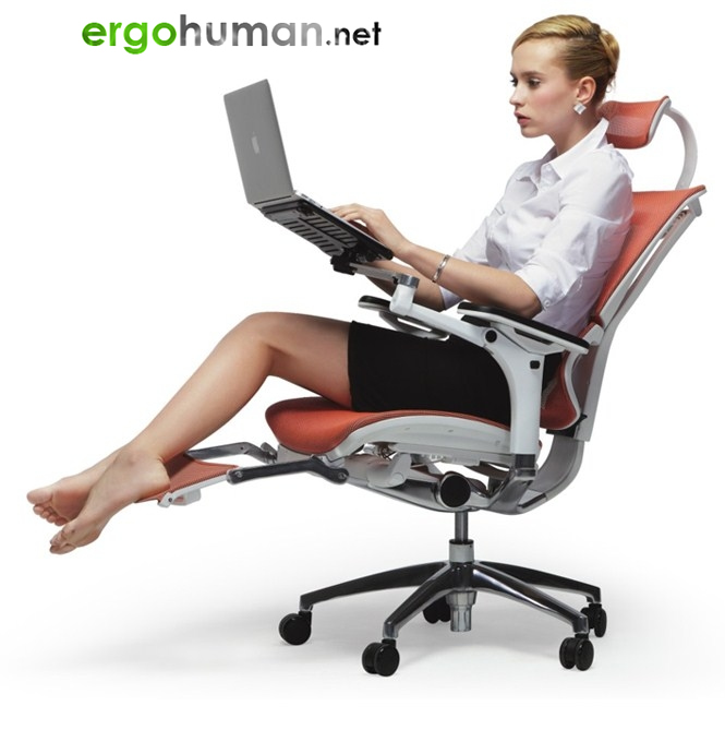 Reclining Mesh Office Chair with Leg Rest and Laptop Table