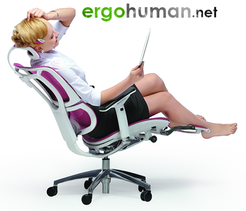 Laptop Office Chair, Leg Rest, Mirus Mesh office Chair