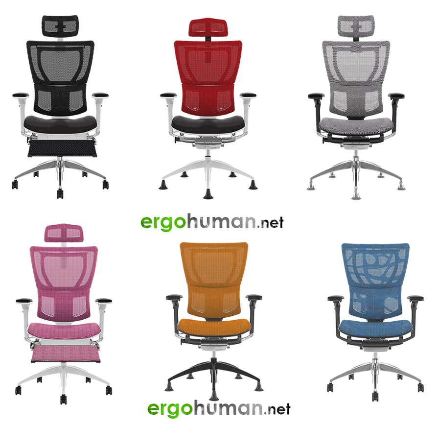 Mirus Office Chairs in mesh, fabric with leg rest and headrest