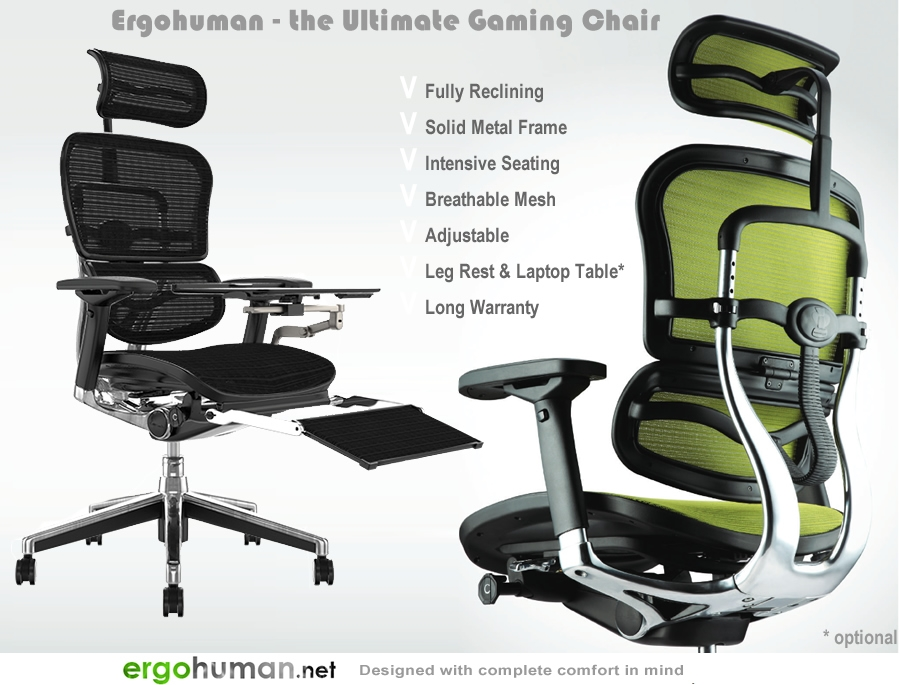 Ergohuman Gaming Chair - Polished Aluminium Metal Back