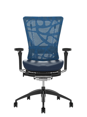 Nefil Blue Leather Seat, Blue Mesh Back Office Chair