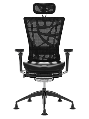 Nefil Black Leather Seat, Black Mesh Back Office Chair