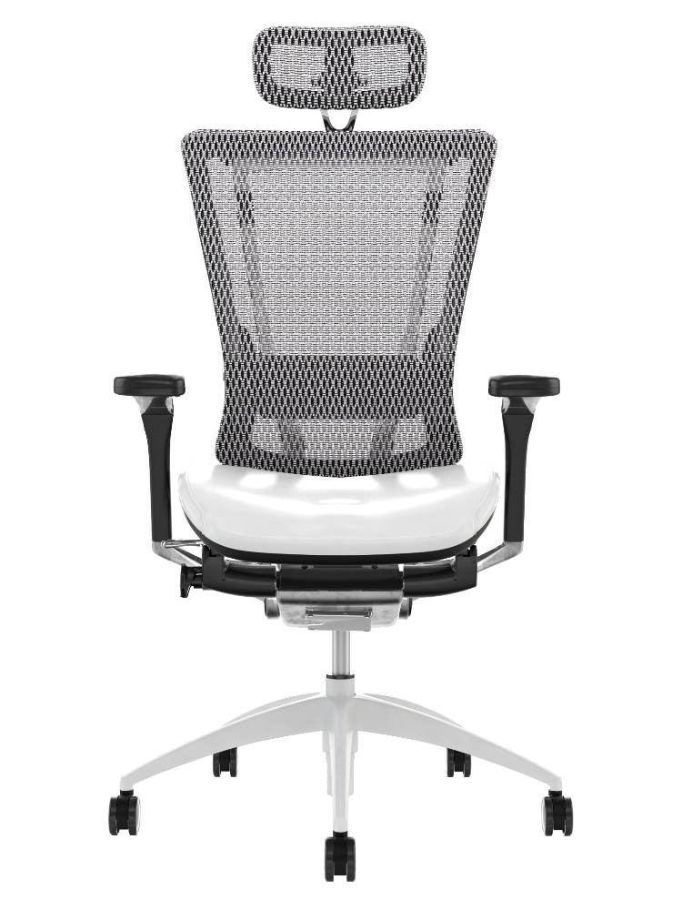 Nefil White Leather Office Chair