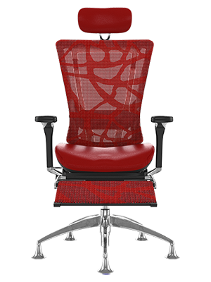 Nefil Office Chair Red Mesh with Leg Rest